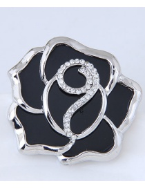 Fashion Silver Color+black Diamond Decorated Flower Shape Brooch