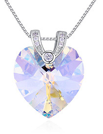 Fashion Multi-color Heart Shape Diamond Decorated Necklace