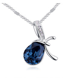 Fashion Dark Blue Oval Shape Diamond Decorated Necklace