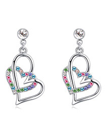 Fashion Multi-color Doule Heart Shape Decorated Earrings