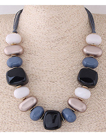 Fashion White+dark Blue Irregular Shape Design Simple Necklace