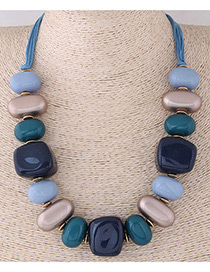 Fashion Blue+gray Irregular Shape Design Simple Necklace
