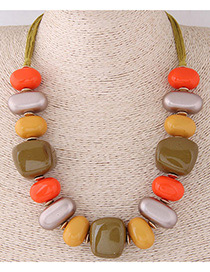 Fashion Orange+green Irregular Shape Design Simple Necklace