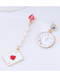 Fashion White Clock Shape Decorated Earrings