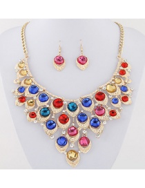 Elegant Multi-color Diamond Decorated Jewelry Set
