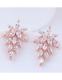 Fashion Rose Gold Oval Shape Decorated Earrings