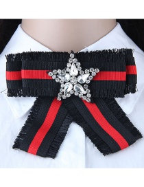 Fashion Red+black Star Shape Decorated Bowknot Brooch