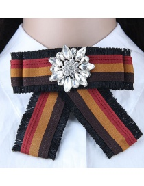 Fashion Red+coffee Flwoer Shape Decorated Bowknot Brooch