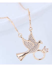 Fashion Gold Color Pigeon Pendant Decorated Necklace