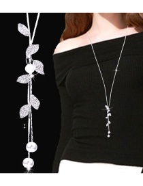 Fashion Silver Color Leaf Shape Pendant Decorated Necklace