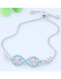 Sweet Blue+silver Color Letter 8 Shape Decorated Color Matching Bracelet