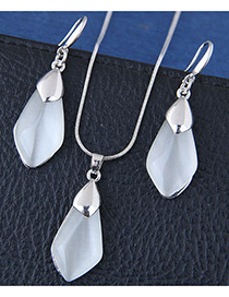 Fashion Silver Color Rhombus Shape Decorated Jewelry Sets