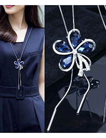 Elegant Sapphire Blue Flower Shape Decorated Necklace