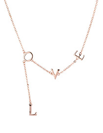 Fashion Rose Gold Letter Shape Decorated Necklace