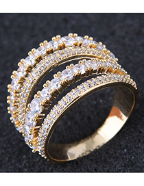 Fashion Gold Color Multi-layer Shape Decorated Ring