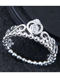 Fashion Silver Color Crown Shape Decorated Ring