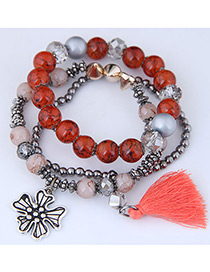 Fashion Red Tassel Shape Decorated Multilayer Bracelet