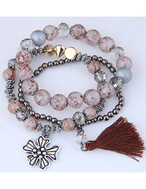 Fashion Light Pink Tassel Shape Decorated Multilayer Bracelet