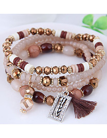Fashion Brown Square Shape Decorated Multilayer Bracelet