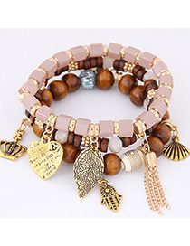 Fashion Pink Lreaf Shape Decorated Multilayer Bracelet