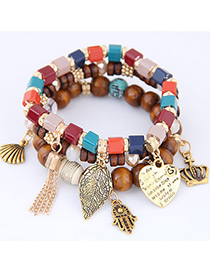 Fashion Multi-color Lreaf Shape Decorated Multilayer Bracelet
