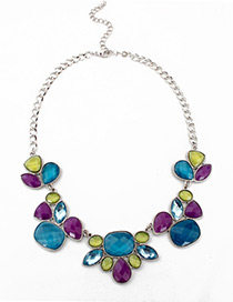 Trendy Blue Geometric Shape Gemstone Decorated Necklace
