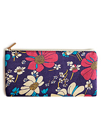 Fashion Purple Flower Pattern Decorated Cosmetic Bag