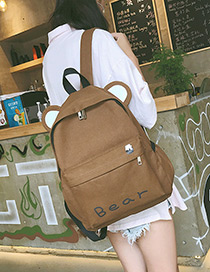 Fashion Brown Cat Shape Decorated Backpack