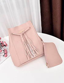 Fashion Pink Tassel Decorated Shoulder Bag (2 Pcs)