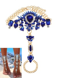 Fashion Sapphire Blue Water Drop Shape Decorated Anklet