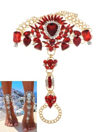 Fashion Red Water Drop Shape Decorated Anklet
