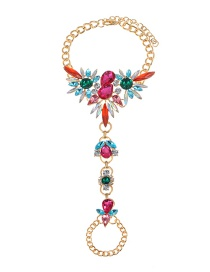 Fashion Pink+green Water Drop Shape Decorated Anklet