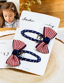 Fashion Red+white+sapphire Blue Bowknot Shape Decorated Hair Clip (2 Pcs)