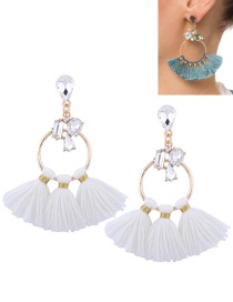 Fashion White Tassel Decorated Circular Ring Shape Earrings