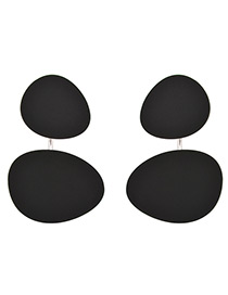 Trendy Black Oval Shape Design Pure Color Earrings