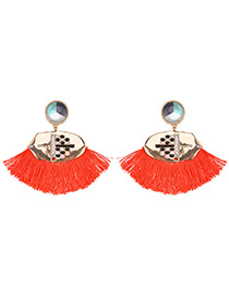 Trendy Red Tassel Decorated Sector Shape Earrings