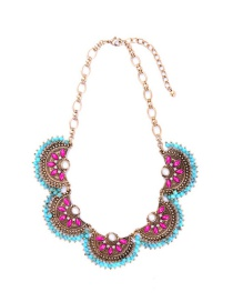 Fashion Multi-color Flowers Decorated Sector Shape Necklace