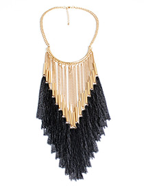 Fashion Gold Color+black Long Tassel Decorated Simple Necklace