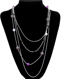 Fashion Silver Color Beads Decorated Multi-layer Necklace