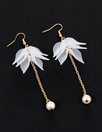 Fashion White Flower&pearls Decorated Long Earrings
