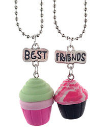 Fashion Multi-color Cream&cake Pendant Decorated Necklace (2pcs)