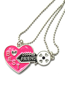 Fashion Silver Color+plum Red Lock&key Pendant Decorated Necklace (2pcs)