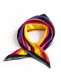 Trendy Multi-color Stripe Pattern Decorated Simple Scarf