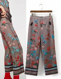 Trendy Multi-color Grid&flower Pattern Decorated Long Pants