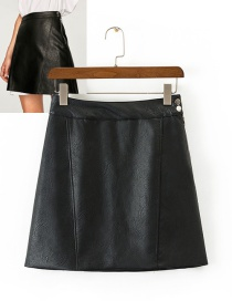 Fashion Black Pure Color Decorated Simple Skirt