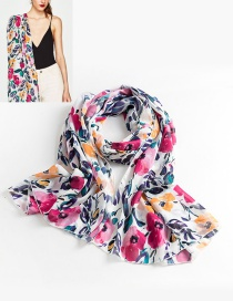 Fashion Multi-color Flower Pattern Decorated Simple Scarf
