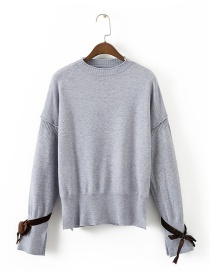 Fashion Gray Bowknot Decorated Pure Color Sweater