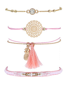 Fashion Pink Pineapple&tassel Decorated Simple Bracelet(4pcs)