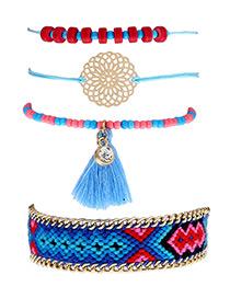 Fashion Multi-color Tassel&flower Decorated Simple Bracelet(4pcs)