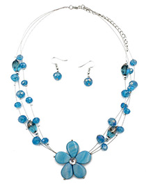 Fashion Blue Flower Decorated Multi-layer Jewelry Sets